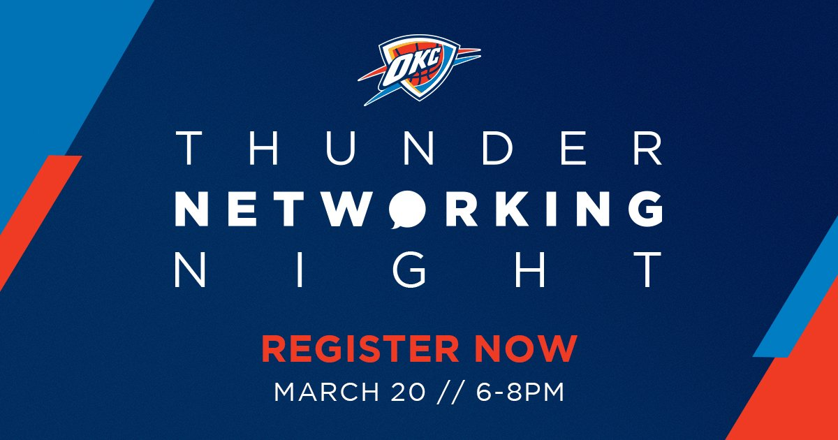 Join members of the Thunder executive team and other business professionals on March 20 for a pregame Networking Night.   More info: https://www.nba.com/thunder/networkingnight…