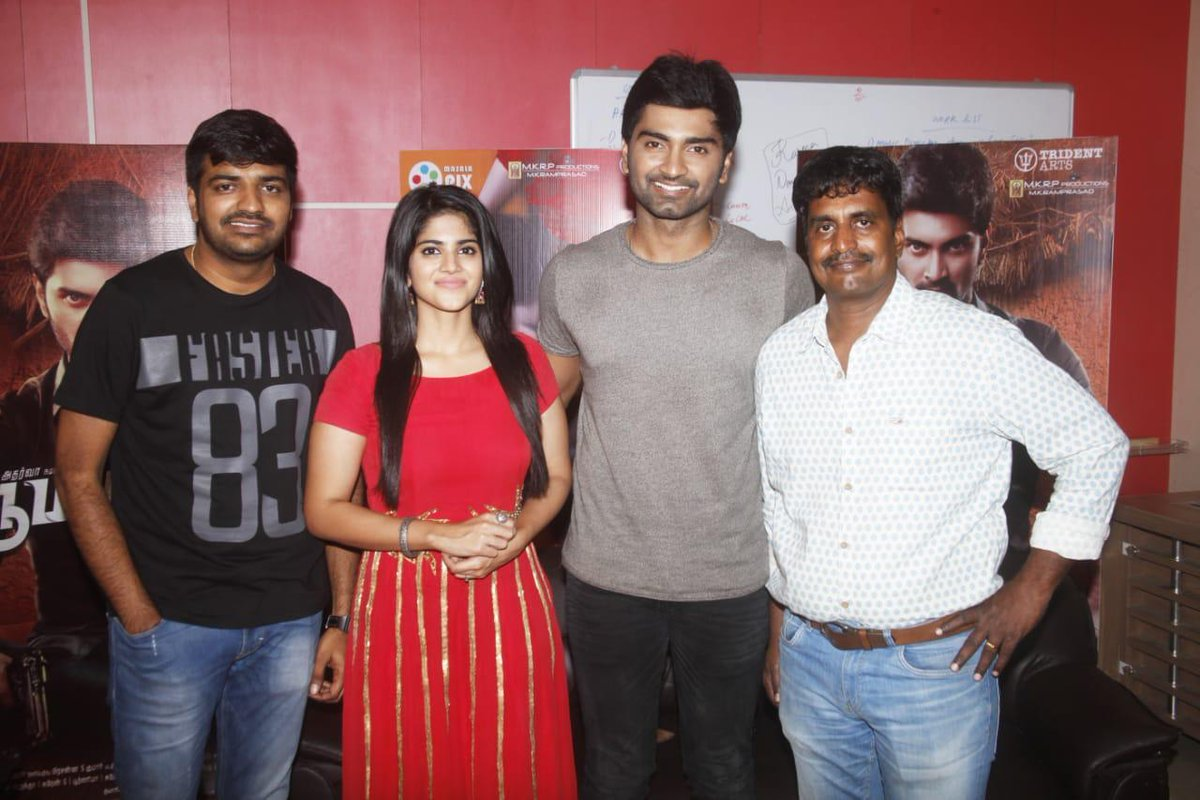 Atharvaa, Megha and Sathish at the promotions of #Boomerang.. March 8th release plan..  @Atharvaamurali @akash_megha @actorsathish @Dir_kannanR