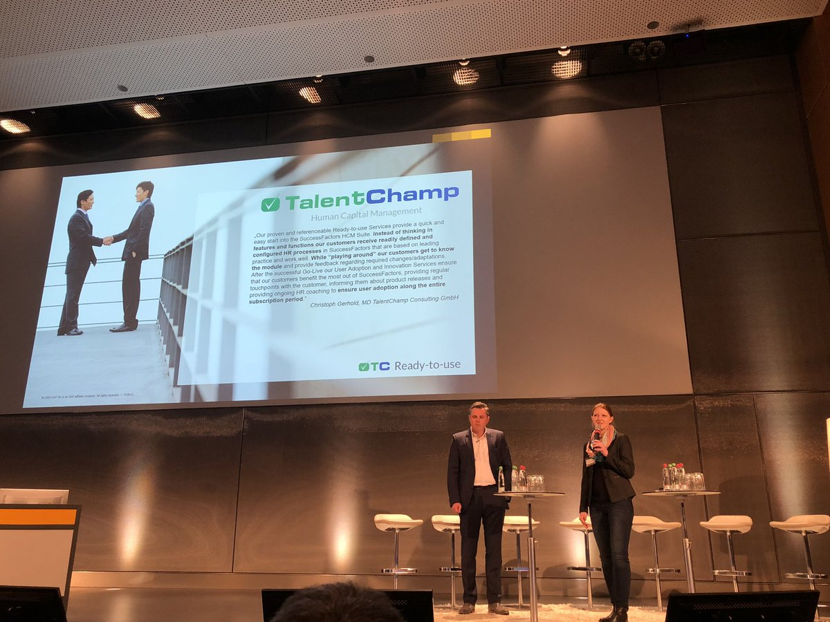 Thanks Katrin Obermann from #SapPartner @talent_champ for joining me on stage at the packed@successfactors partner event<br>http://pic.twitter.com/wI6H9nuFNn