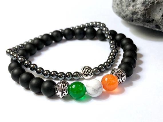 Irish flag gemstone bracelet