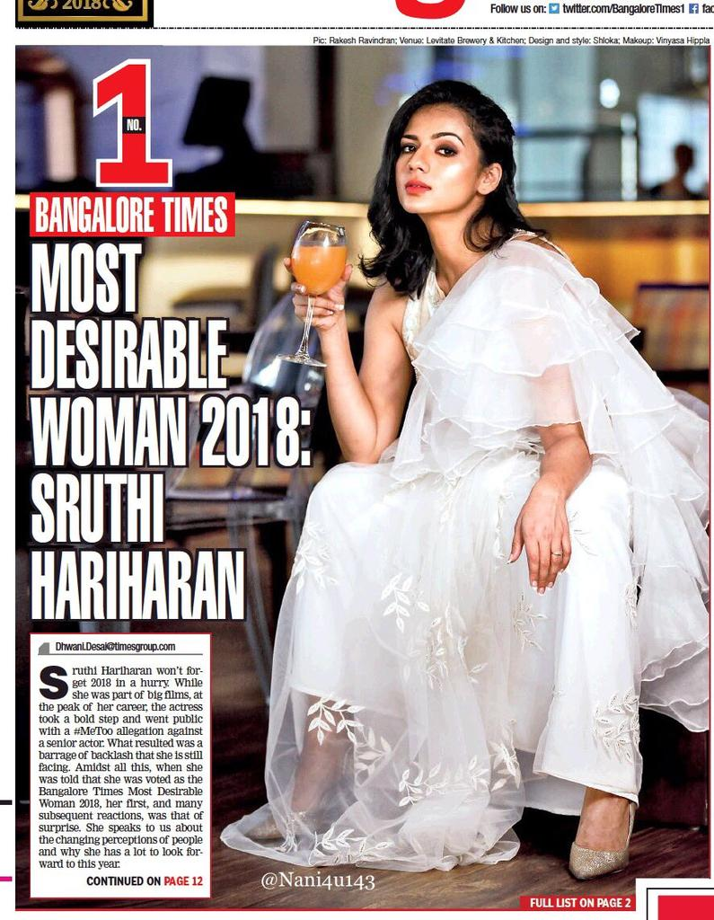 Congrats to the bold, beautiful and talented @sruthihariharan 👍😊 The @BangaloreTimes1 Most Desirable Woman 2018..