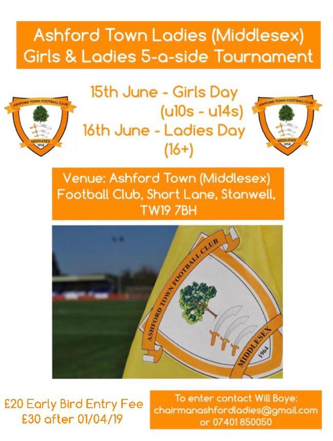 ae2202dffd4 NEWS | It's here...our very own Ashford Town (Middlesex) Girls & Ladies  Tournament! Get in touch now for an entry form and take advantage of our  early bird ...