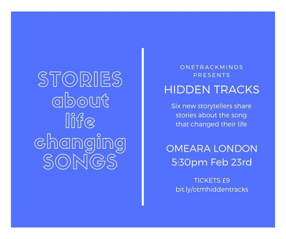 I recently did the very fun OneTrackMinds, sharing stories of life-changing songs. If you fancy it their next show is in London Bridge on Saturday and tickets are here (not #spon, just a favour 'cos it was fun):  https://t.co/uOBCtD0RcM