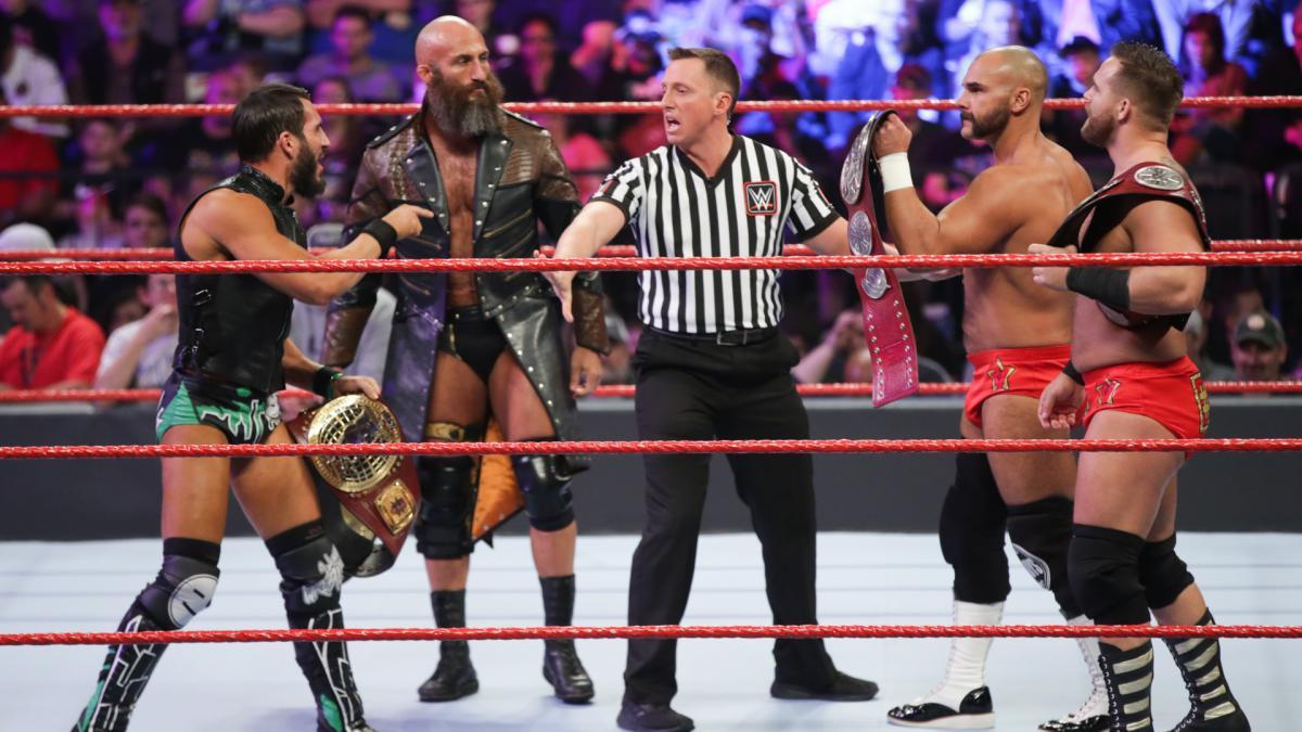 .@ProjectCiampa & @JohnnyGargano made their #Raw debut against the #TagTeam Champions when they took on #TheRevival!
