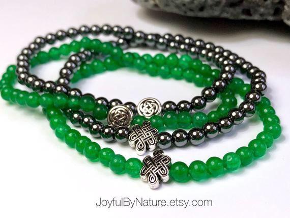 Hematite and jade Celtic eternity knot bracelets