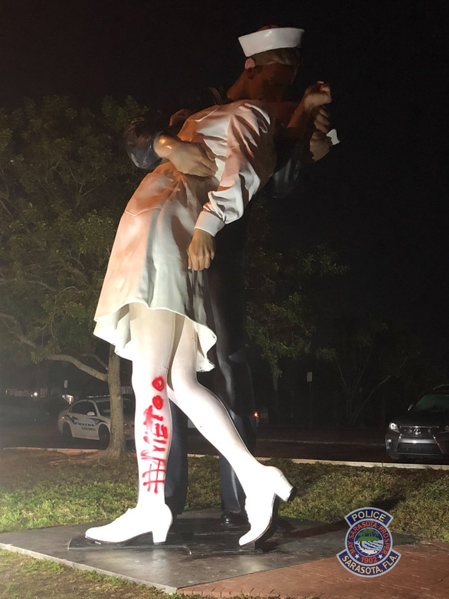 'Kissing sailor' statue graffitied with #MeToo after death of George Mendonsa