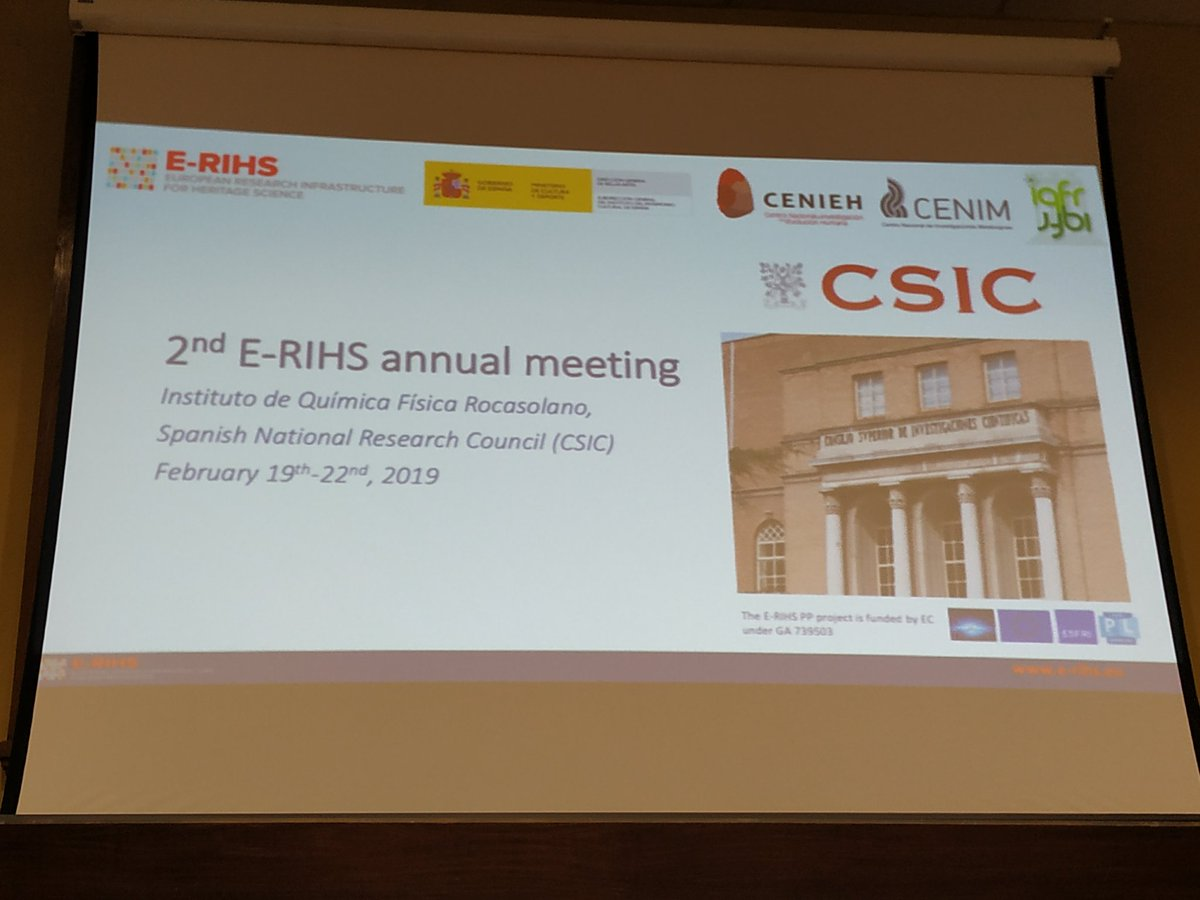 Marta Castillejo opens the 2nd @ErihsEu meeting at @CSIC , organized by @lanamap_iqfr with collaboration of members of the Spanish node from @iqfr_csic, @CENIM_CSIC, @CENIEH, and @ipcepatrimonio