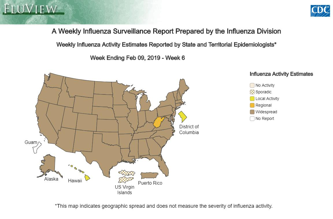 Widespread #flu activity is being reported by 48 states and Puerto Rico. Help stop the spread of flu and take 3 actions:   ✔️Get vaccinated. ✔️Take everyday preventative actions. ✔️Take #antivirals if your doctor prescribes them.  Learn more: https://t.co/kzfaEwy6Hv.