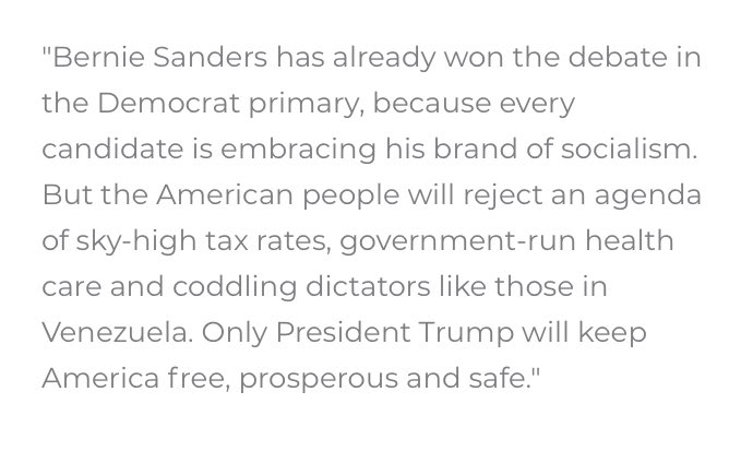 """Trump campaign statement on Sanders hits all the telegraphed re-election campaign notes on modern day red scare attempt. But here's what one Sanders ally told me 10 days ago, as launch was being prepped:  """"Nothing unifies Democrats like being made a villain by Trump."""""""