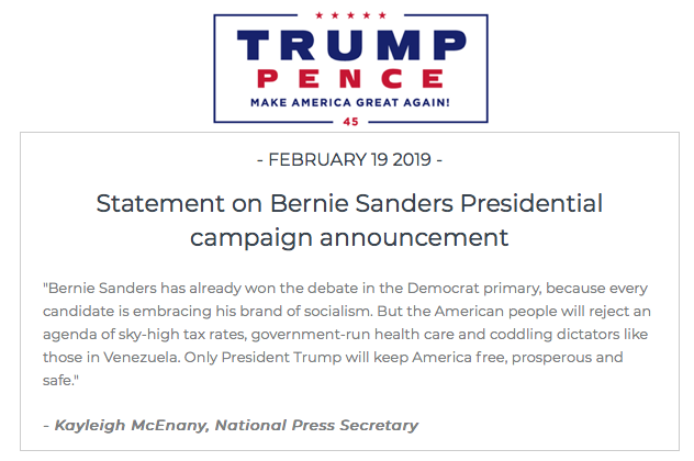 """Trump campaign press secretary on @SenSanders announcement: 'Bernie Sanders has already won the debate in the Democrat primary, because every candidate is embracing his brand of socialism.""""  https://t.co/BOHepiGZf2"""