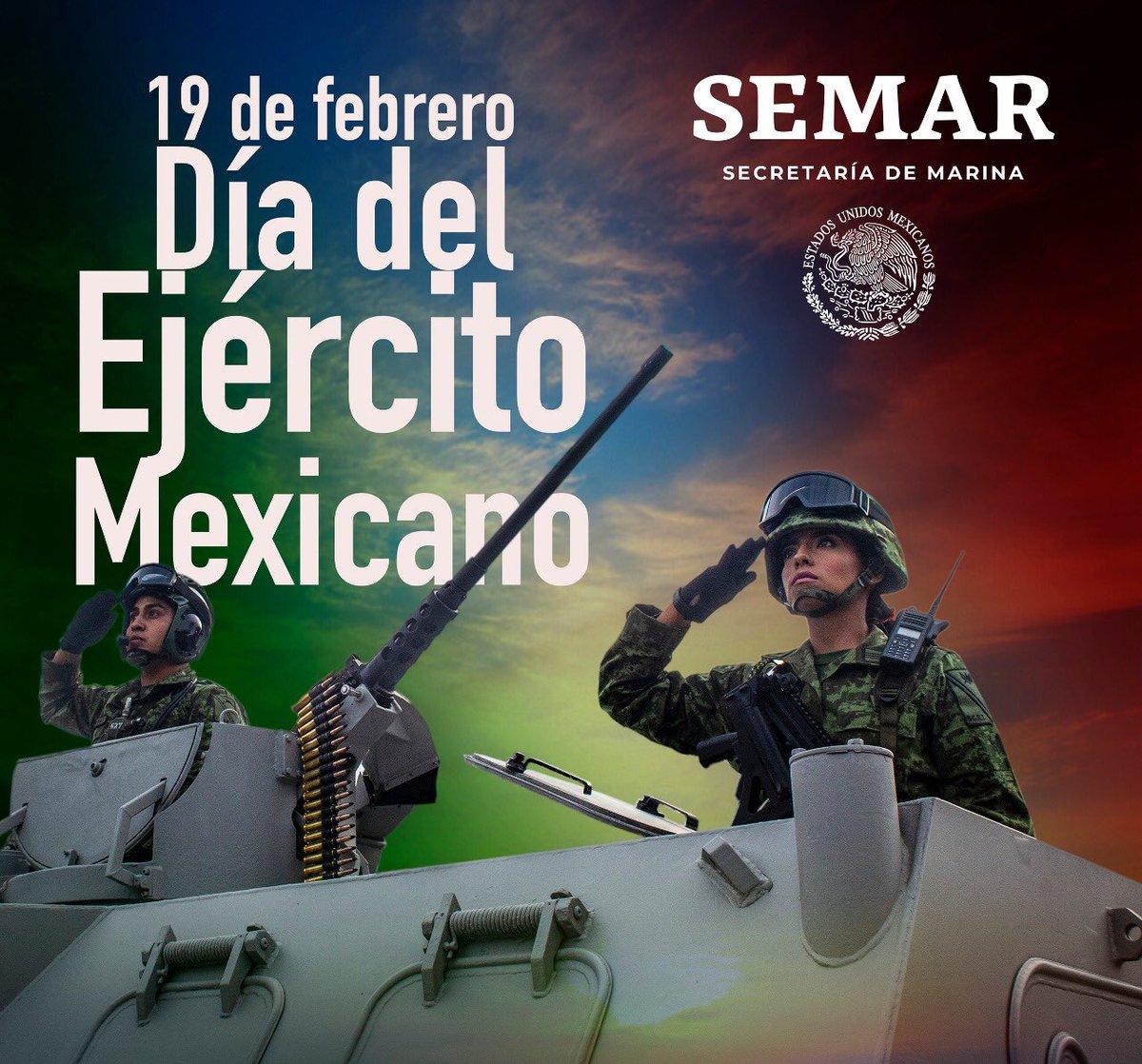 Este #DíaDelEjércitoMexicano hago extensiva la felicitación a mujeres y hombres valerosos, hermanos de armas, integrantes del Ejército Mexicano cuya vocación es ¡Servir a México!