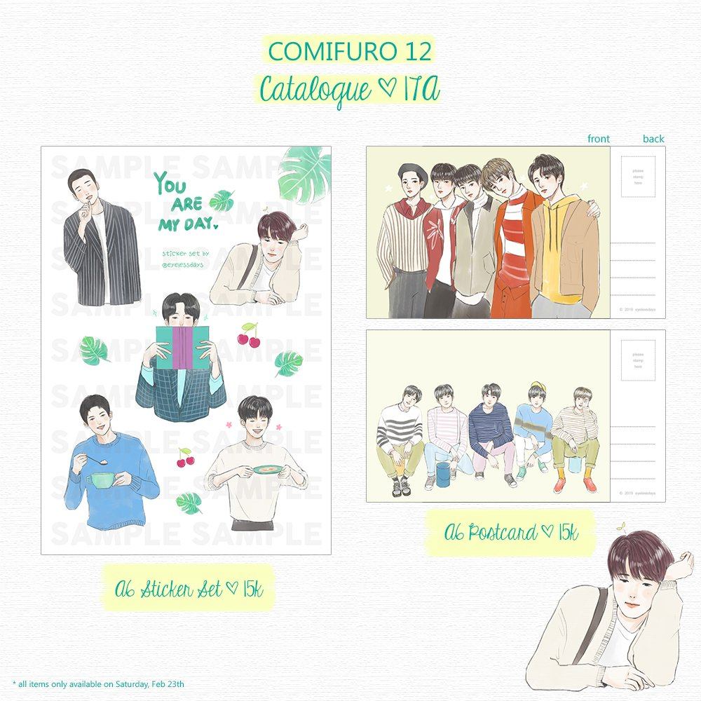 hello everyone! come and meet me at #comifuro12 to get these stuffs this Saturday! ✨✨  limited stock but you can DM me for booking 🌿🍃💕  #COMIFURO12 #CFXII #CF12 #COMIFUROXII #COMIFUROCATALOGUE #DAY6