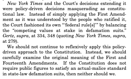 🚨Clarence Thomas declares war on New York Times v. Sullivan, arguably THE landmark First Amendment ruling of the 20th Century, which strictly limits defamation lawsuits against public figures and officials. (The case at hand is about Bill Cosby.)  https://t.co/vwKhV5PN1G