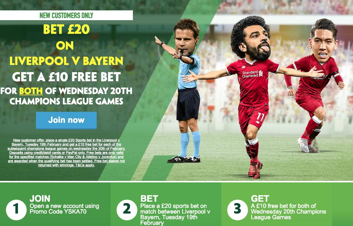 💥  HUGE OFFER 💥  Claim here → https://t.co/vRlpF8x1e0  1⃣ Bet £20 on the Liverpool vs Bayern game 2⃣ Get a £10 free bet for BOTH of Wednesday's Champions League games  (New customers only)  🔞 T&C's Apply  BeGambleAware  #LIVBAY #LIVFCB #Liverpool #LFC #LFCFCBF#YNWAC#salahB