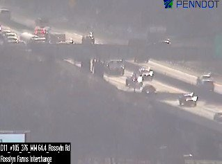 Crews continue to clear the earlier accident blocking the left and center lanes of the outbound Parkway West between Carnegie and Rosslyn Farms.  Delays now backing through the Fort Pitt Tunnels, across the Ft. Pitt Bridge lower deck and onto the approaches.  #KDKAradioTraffic