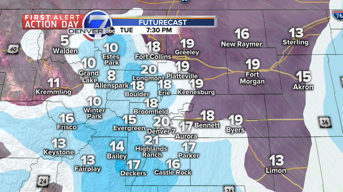 Chance for a little more snow later today and tonight.  Up to an inch for the Denver metro area.  We will see more sunsine (finally) tomorrow. #cowx  @DenverChannel