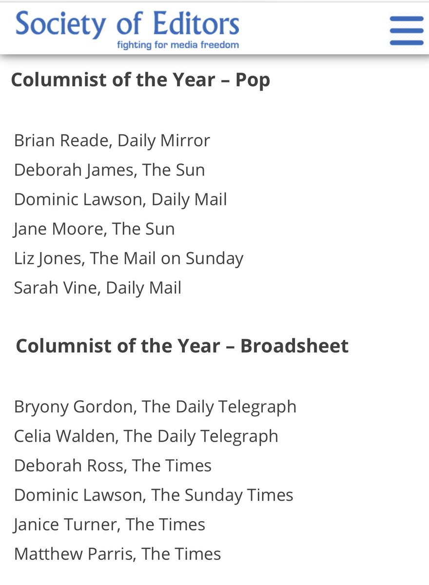Well this is awkward.  The missus (zero apologies to radical feminists offended by that term) has been short-listed for Columnist of the Year at the National Press Awards.... and I haven't. Will have to pretend to be happy for her.