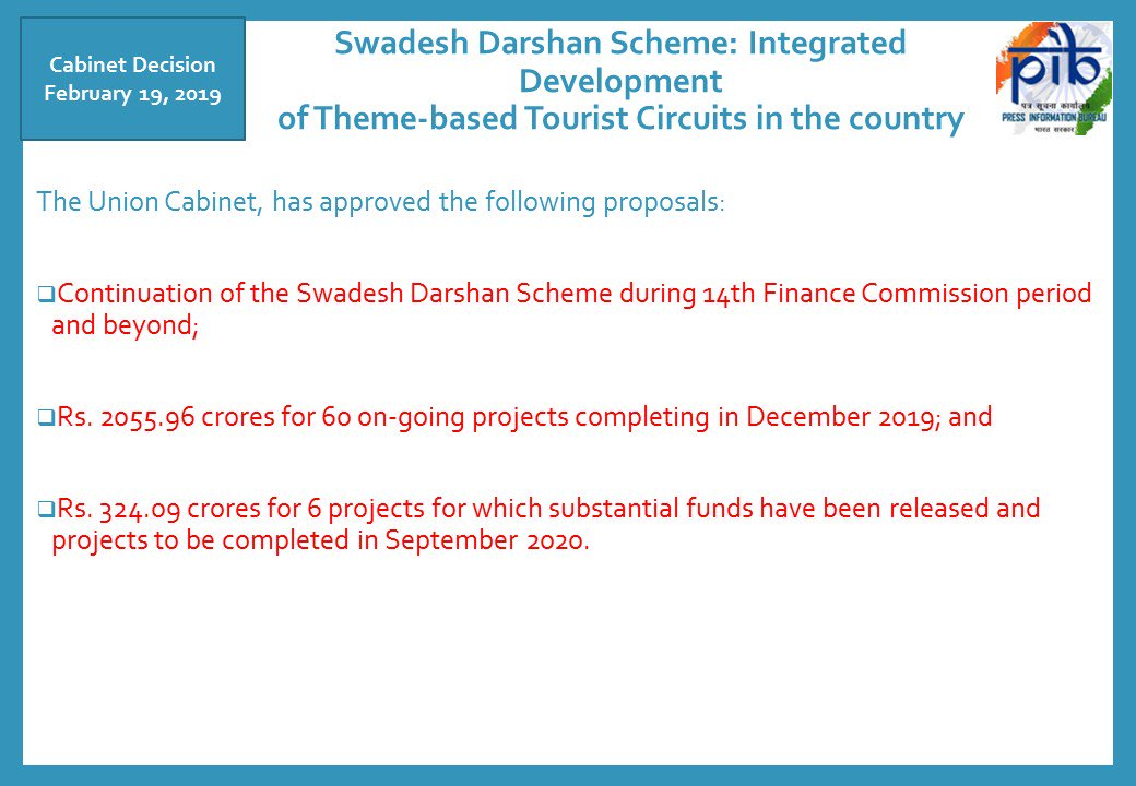 #Cabinet has approved continuation of Swadesh Darshan Scheme: Integrated Development of Theme-based Tourist Circuits in the country  @PMOIndia