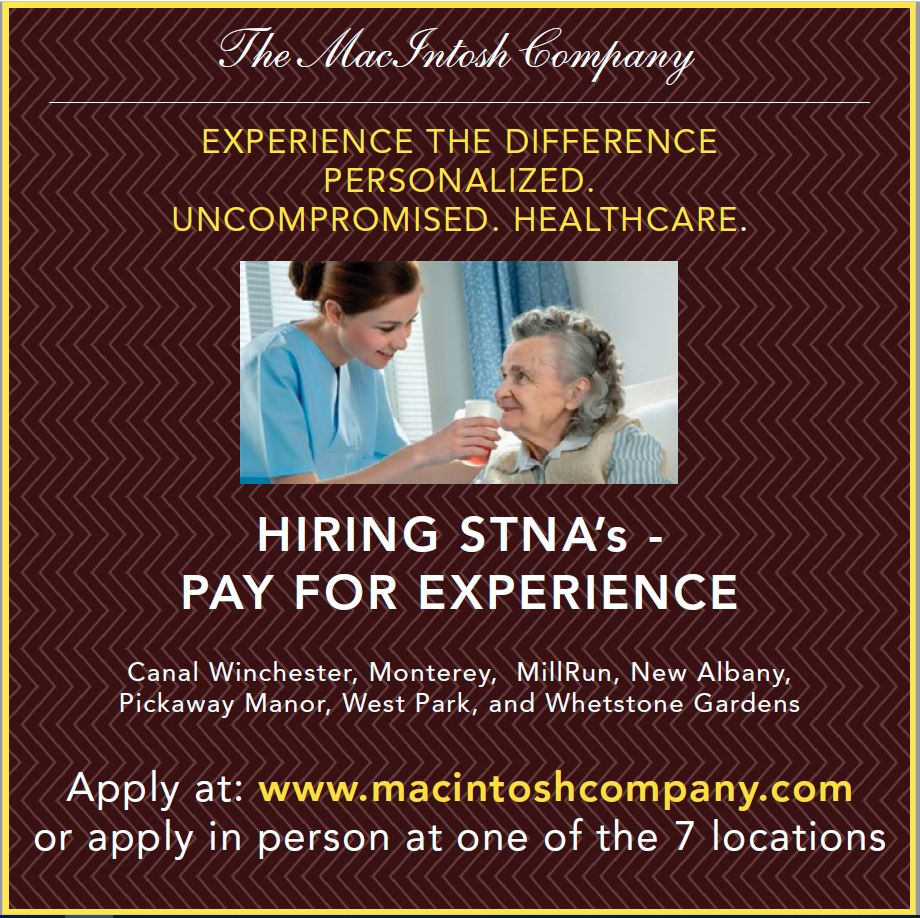 The MacIntosh Company is hiring STNA's in Columbus Ohio!   Various Shifts, Great Benefits, Ask about the sign on bonus!  Click here to learn more: http://ow.ly/LEdv50lJ0pi   #healthcare #hiring #job #jobs #healthcarejobs #STNA #hursejobs