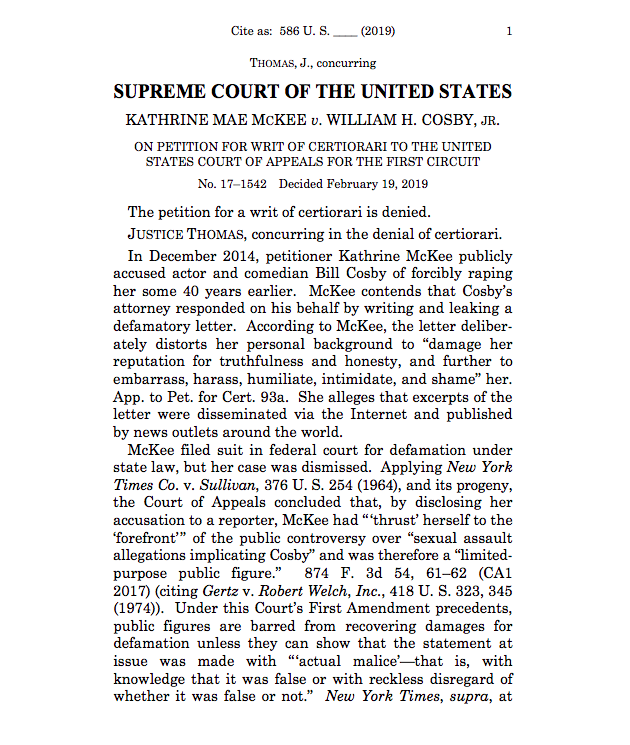 "SCOTUS also won't hear McKee v. Cosby, a defamation case involving the former comedian. Thomas concurs but calls for revisiting the ""actual malice"" standard."