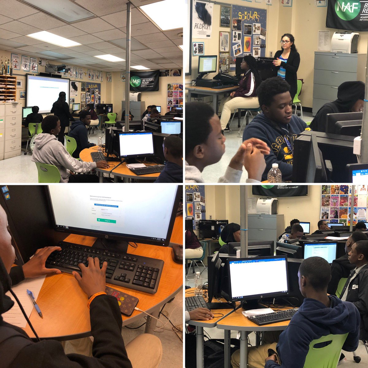 Today, students from @TurnerTechHS are working on their JA Company, thanks to a generous grant from the Frederick DeLuca Foundation and a classroom #volunteer from @WellsFargo! #jacompanyprogram #jacompany #entrepreneurlife #entrepreneurship #startup