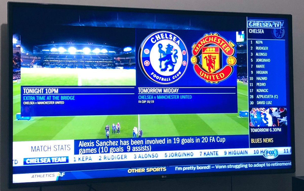 Wahoooo last nights match on chelsea tv for me now!!! 😍😍❤️🔴🔴🔴 I get to see it whoop whoop 🙌🏻