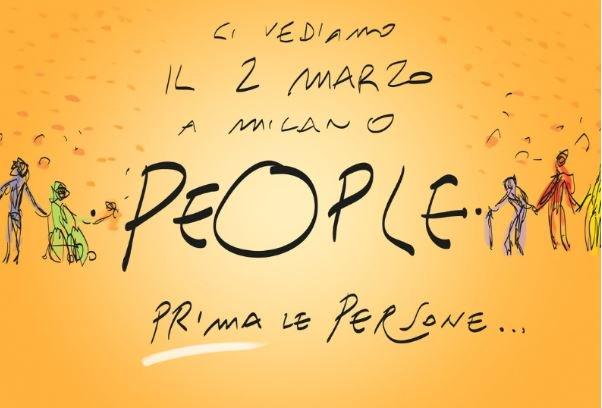 """In un periodo in cui il valore della solidarietà è messo in dubbio e per dire no all'indifferenza davanti a chi ha bisogno di aiuto, anche noi saremo alla Manifestazione """"People – #Primalepersone"""", che si terrà sabato 2 marzo a Milano.  Per rimettere al centro le persone   #umani"""