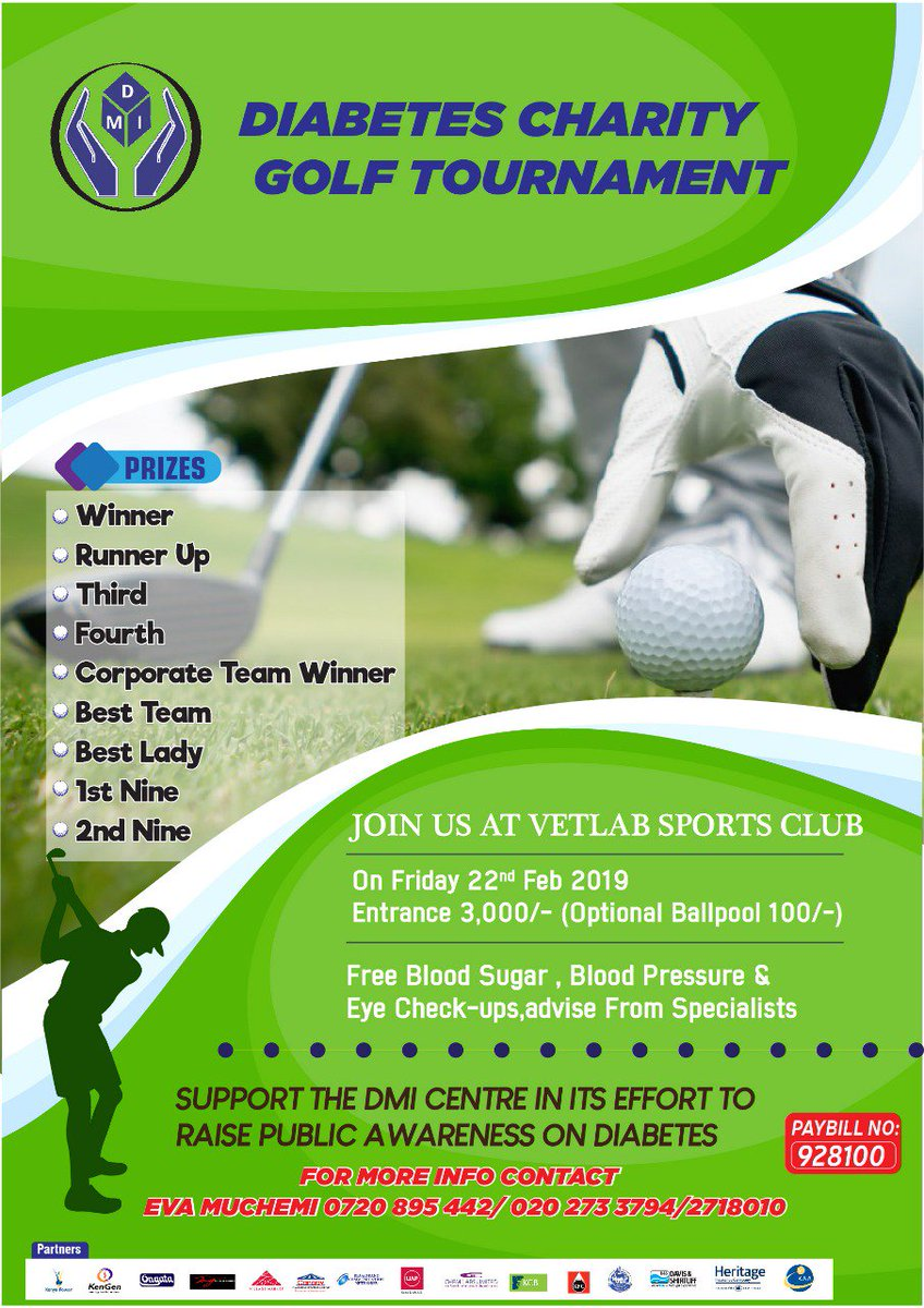 Partner with us to help raise awareness on #Diabetes by participating in the upcoming #DMIDiabetesCharityGolf this Friday, February 22, from 8.00am at the VETLAB Sports club. #Tagafriend.  There will be free Blood Sugar, Blood Pressure and Eye Checks from specialists. <br>http://pic.twitter.com/7APYzEsQDf