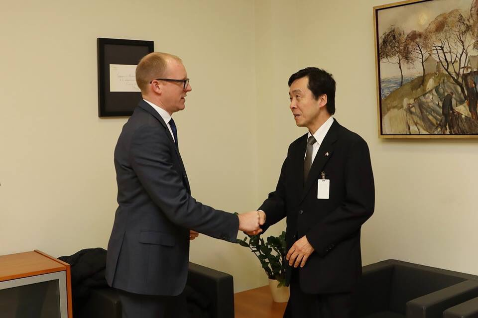 .@Latvian_MFA State Secretary @andrispelss and the new Ambassador of 🇯🇵️ Japan to 🇱🇻️ Latvia, Yasuhiro Kavaguchi, discussed strengthening of cooperation both bilaterally and in multilateral formats.
