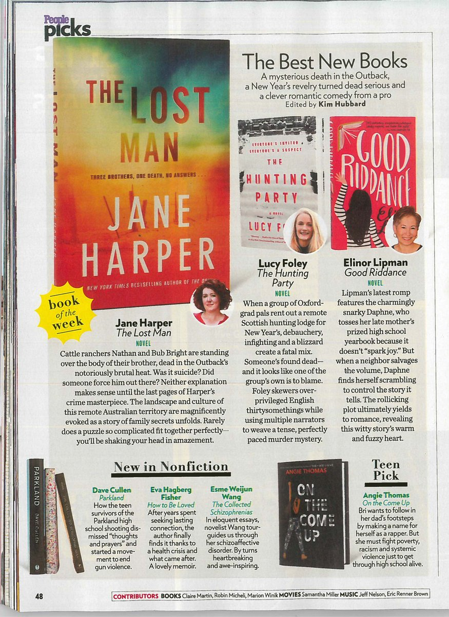 """.@people raves in this week's issue: THE HUNTING PARTY by @lucyfoleytweets is """"a tense, perfectly paced murder mystery."""""""
