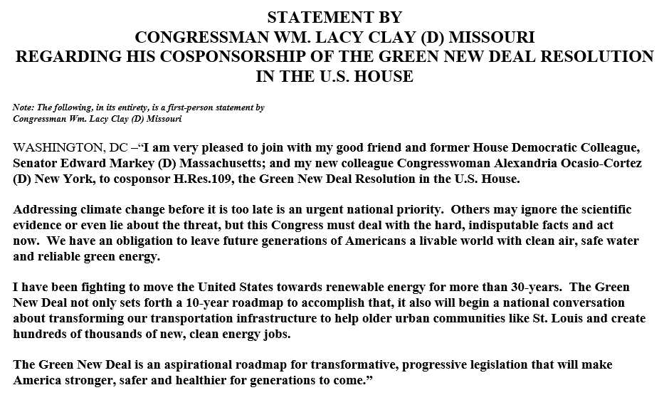 . @LacyClayMO1 has signed on as a co-sponsor to @AOC's Green New Deal resolution. Here's the STL Democrat's statement: