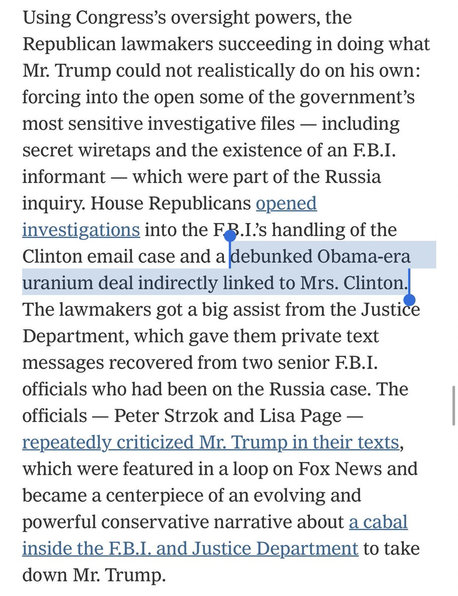 For those old enough to remember almost 4 years ago when The New York Times ran with a farce of a story about Uranium One, here is the same New York Times admitting the story was a sham today...leaving out that they created it. https://www.nytimes.com/2019/02/19/us/politics/trump-investigations.html?action=click&module=Top%20Stories&pgtype=Homepage …