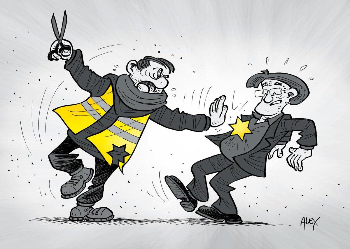 """Le dessin du jour 🎨Après les insultes proférées par des """"#GiletsJaunes"""" contre le philosophe juif Alain #Finkielkraut, épisode illustré ici par le dessinateur suisse Ballaman, la France se mobilise contre l'#antisémitisme. #CaSuffit  https://www.courrierinternational.com/dessin/le-dessin-du-jour-contre-les-derives-antisemites-la-france-se-mobilise?utm_medium=Social&utm_source=Twitter&Echobox=1550593588…"""