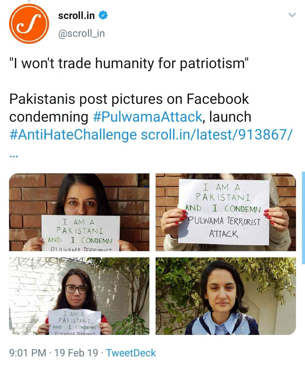 Lol..   Aman ki Asha gang did a photoshoot to show Pakistanis are condemning Pulawama attack.  Check the handwriting and color combination, it's the same placard, even the background of 2nd and 3rd pic are same.  Who are you trying to fool @scroll_in?