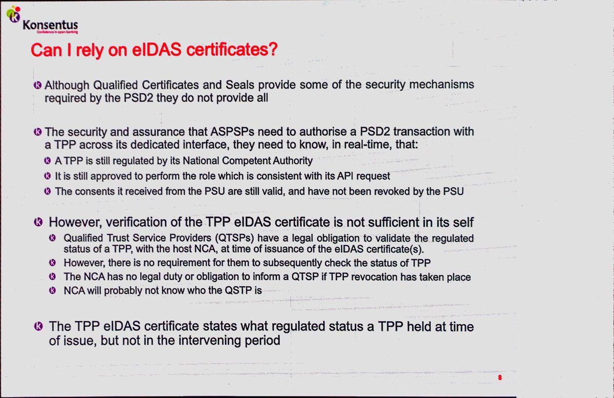 """#ilovempe great presentation from Brendan @konsentus on how easy it is to determine whether a TPP is authorised for ASPSP access (hint: not). Also, I should explain to MPE delegates that """"competent"""" doesn't mean what you think it means."""