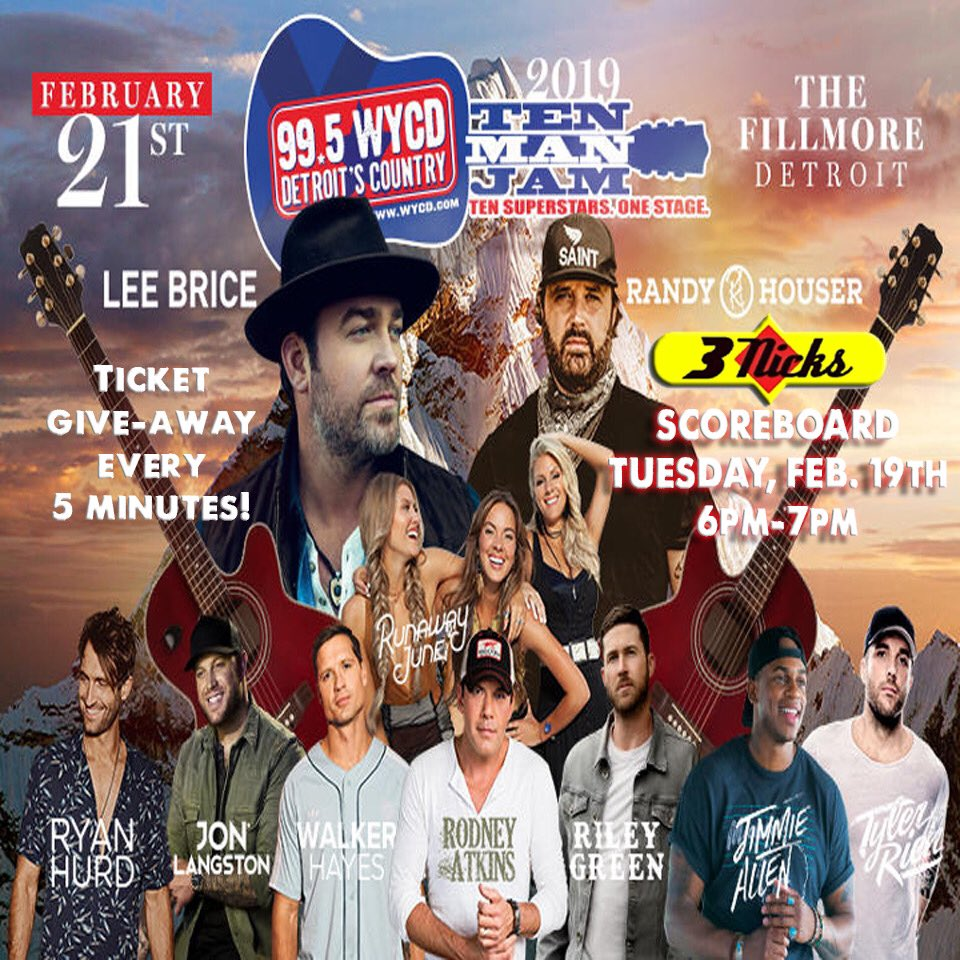 Join us TODAY @ 6pm !! @995wycd will be in the house giving away tickets to the Ten Man Jan every 5 minutes !! #livefrom #3nicksscoreboard #wycd #wintickets #tenmanjam #cheers