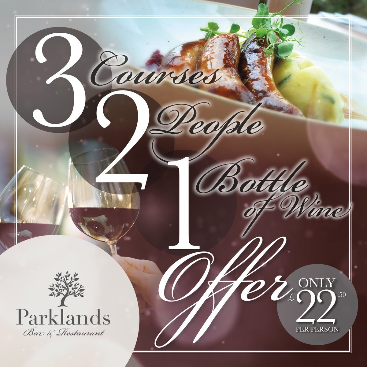 Indulge in our latest offer of   🍽 3 courses for  👱‍♂️ 2 people with  🍷 1 bottle of wine   For only £22.50 each! Book your meal today http://socsi.in/rYnq8