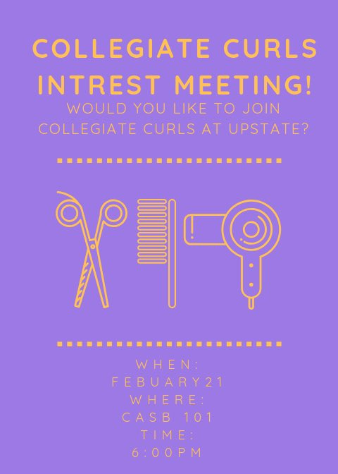 Interested in becoming a member of Collegiate Curls? Come join us in the CASB for our interest meeting! Can't wait to see you all this Thursday  <br>http://pic.twitter.com/91dMOuMGE7
