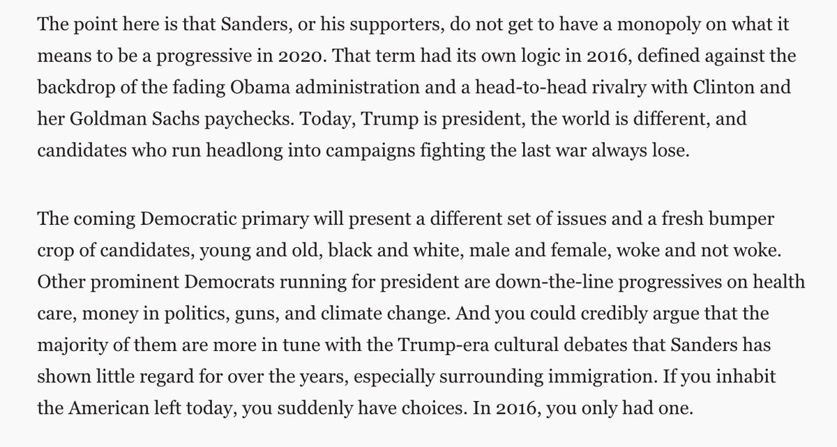 This dynamic, to me, is why Bernie will have a harder path. 2020 ≠ 2016. https://t.co/n6EFqUV2Ut