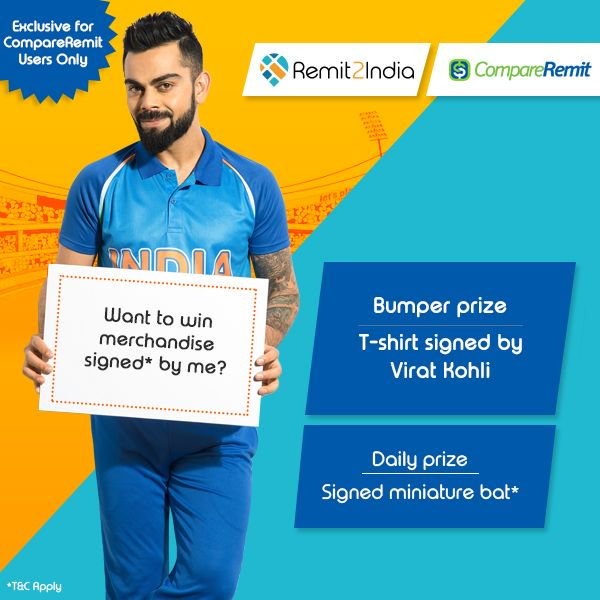 Regular Rate On Compareremit And Complete Your Registration Remit2india One Winner Daily Gets A Miniature Bat Signed By Virat Kohli Predict Now