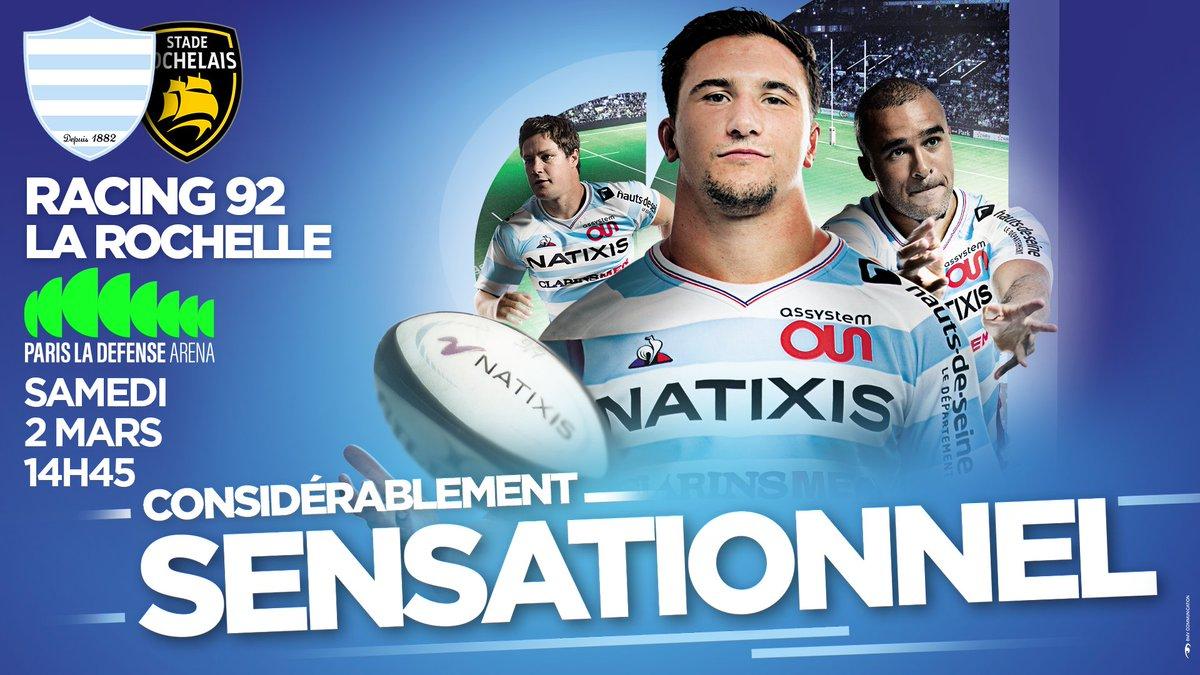 Retrouvez les Ciel et Blanc pour la 18ème journée de TOP 14 !   Racing 92 vs  @staderochelais   Samedi 2 Mars ⌚️14h45 ️ @ParisLaDefArena  ️ https://t.co/SDd48wOB1c  #R92SR https://t.co/TJFPBp2kbi