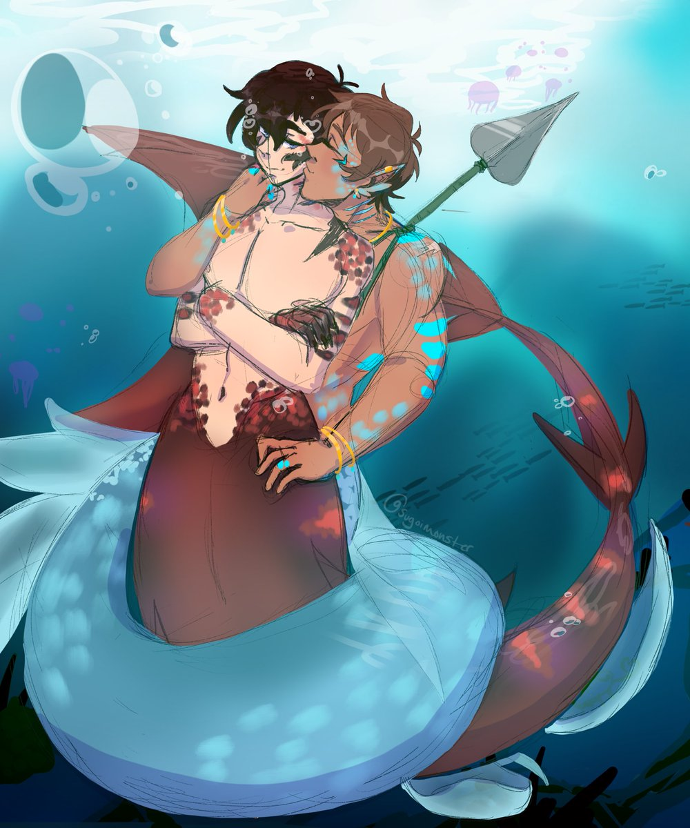 I wanted to do some mermaid art of here #Klance and I think #KlanceAUmonth day 3 was mermaid