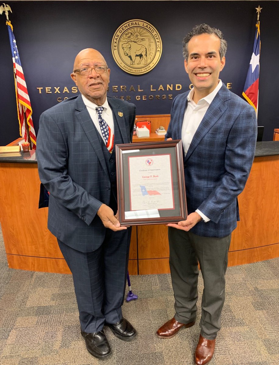 This morning Cmr. Bush visited with Vincent Morrison of Harris Co. @texasveterans to discuss the importance of serving Veterans in the Houston area and across the state. Mr. Morrison presented Cmr. Bush with a certificate of thanks for @txglo's work with Texas Veterans.