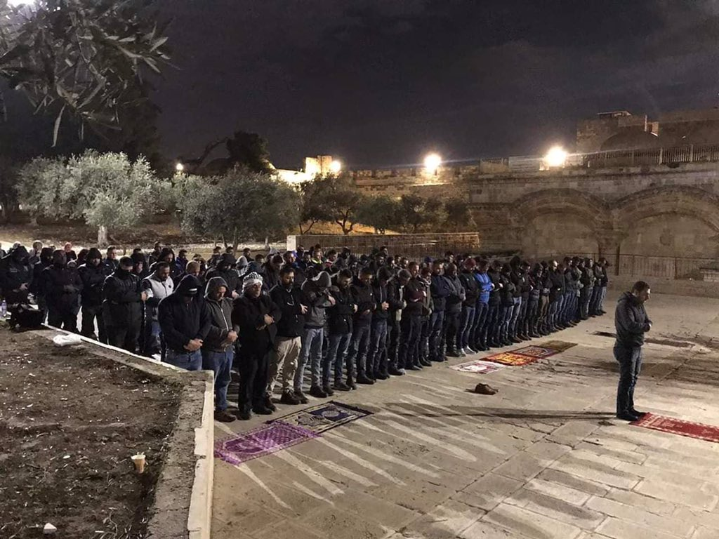 Pray for Al Aqsa and the Palestinian worshipers around it.  Palestine