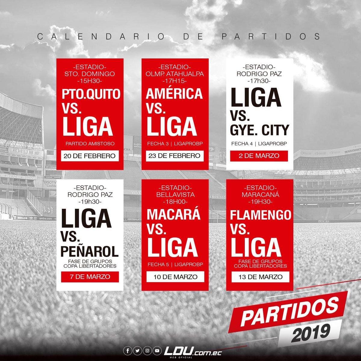 ¡Pronto inicia nuestra participación en #CopaLibertadores! Aquí nuestros próximos 6 partidos. ¡Mañana nos encontraremos con nuestra hinchada en Santo Domingo para la #TardeAzulGrana frente al @CLUBPUERTOQUITO! #CastaDeCampeón