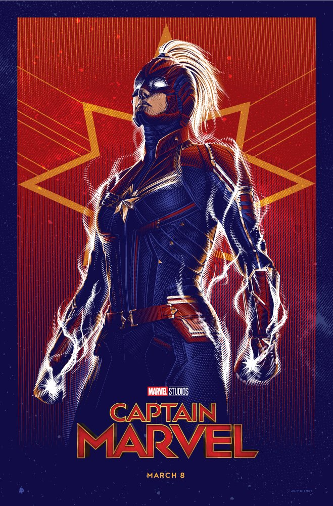 Here's a look at a Marvel Studios' #CaptainMarvel-inspired poster created by illustrator @TracieChing. 🌟