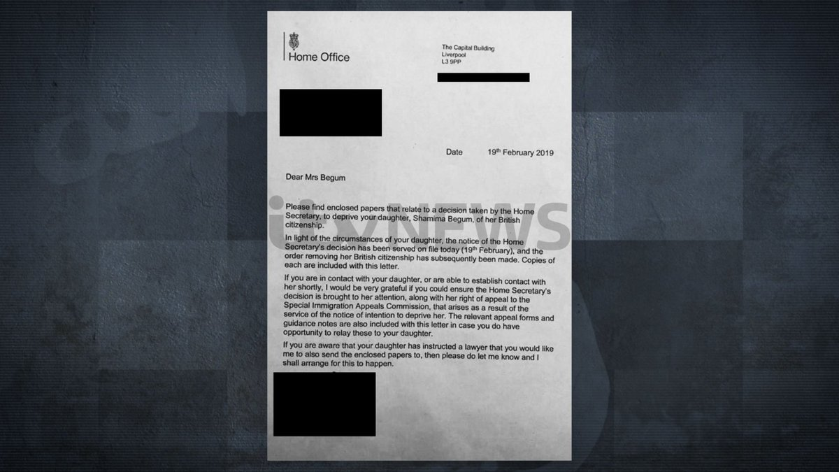 Exclusive: Shamima Begum has had her UK citizenship revoked by the British government, this letter seen by ITV News shows  https://t.co/lFXaJFtBvM