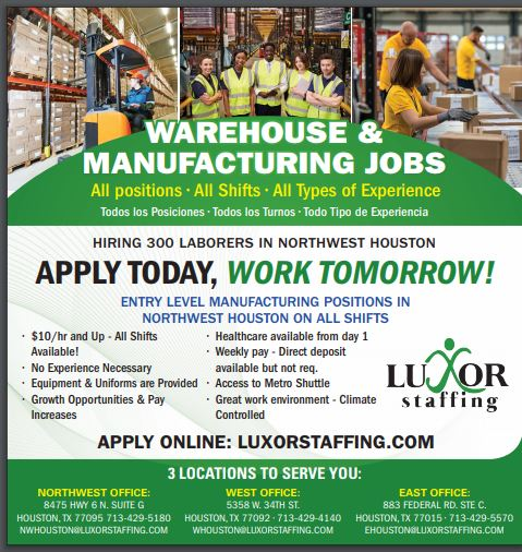 Luxor is hiring for Warehouse and Manufacturing Jobs in Houston Texas!  No Experience necessary, healthcare available from day 1!   If you are interested in learning more click below: https://www.employmentguide.com/company-profile/luxor-staffing-83688 …  #job #jobs #houston #houstonjobs #joblisting