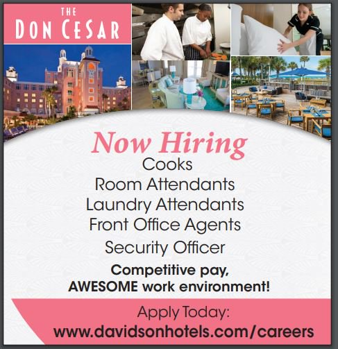 The Don Cesar Hotel is hiring in Tampa Florida!  The pay is competitive and the work environment is AWESOME!  Hiring: Cooks, Room Attendants, Laundry, Front Desk Agents  Click to learn more: https://www.davidsonhotels.com/careers   #Job #jobs #tampa #employment #Florida #jobhunt #joblisting