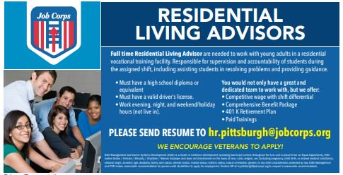 Job Corp is hiring Residential Living Advisers in Pittsburgh PA!  This position includes competitive pay, comprehensive benefits package,  401k and more!  Go to work knowing you are making a difference  Click to find out more: http://ow.ly/UnvR50lLnzG   #job #jobs #pittsburgh